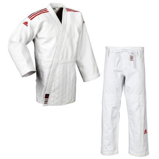 Adidas Champion II. IJF fehér Judo gi, piros vállszövéssel.