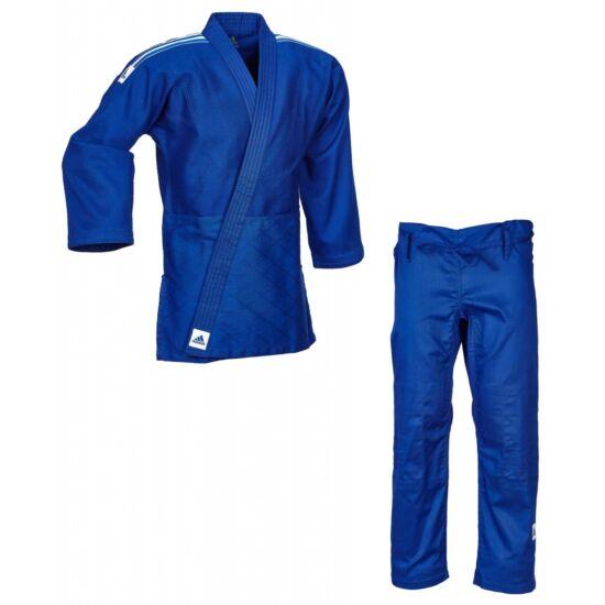 Adidas Training kék Judo gi J500B, fehér vállcsíkkal.