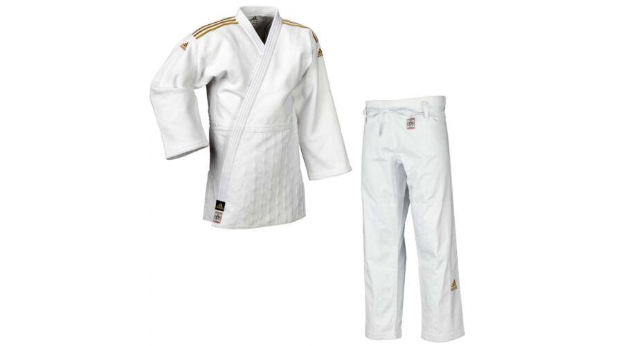 5c9317c80 Adidas Champion II. IJF fehér Judo gi, arany fehér vállszövéssel.