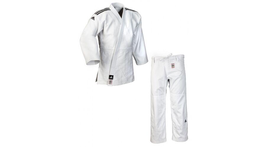 efdc7ba8b Adidas Champion II IJF fehér judo gi, fekete fehér vállszövéssel.